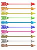 stock photo of longbow  - Set of colorful metallic arrows isolated on white background - JPG