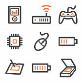 Electronics Web Icons Set 2, Orange And Gray Contour Series