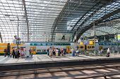 Berlin, Germany - July 22: Unknown Commuters Are Waiting For The Train At The Central Station Of Ber