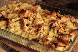 picture of pyrex  - Whole dish of bread and butter pudding - JPG