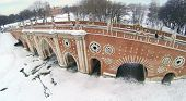 stock photo of ravines  - Big bridge over ravine in Tsaritsyno at winter in Moscow - JPG