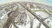 Ivanteevsky street at winter day in Moscow, Russia. Aerial view