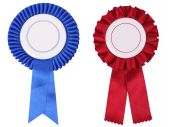 Blue And Red Rosettes, With Copy Space