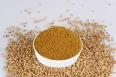 picture of garam masala  - Coriander seed in white bowl on the white background - JPG