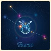 image of taurus  - Vector constellation Taurus with the Zodiac sign - JPG