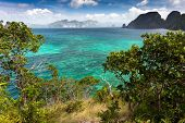 Tropical sea landscape view from the Snake island viewpoint in Palawan, El Nido, Philippines