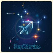 foto of sagittarius  - Vector constellation Sagittarius with Zodiac sign - JPG