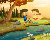 Illustration of a boy and a girl with a bike standing at the riverbank