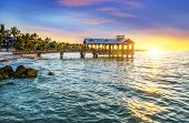 stock photo of atlantic ocean beach  - Pier at the beach in Key West Florida USA