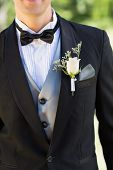stock photo of boutonniere  - Midsection of groom wearing boutonniere in garden - JPG