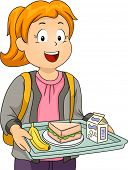 stock photo of canteen  - Illustration of a Litte Girl in a Cafeteria Carrying a Tray Holding Her Lunch - JPG