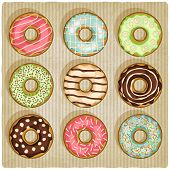 picture of donut  - donuts retro striped background  - JPG