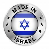 stock photo of israeli flag  - Made in Israel silver badge and icon with central glossy Israeli flag symbol and stars - JPG