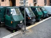 Parking Space With Special Lorries In Rome,
