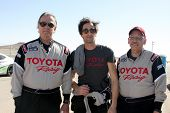 LOS ANGELES - MAR 15:  Eric Braeden, Adrien Brody, Dr. William Pinskyat the Toyota Grand Prix of LB
