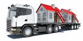 stock photo of truck-cabin  - Truck carries two houses - JPG