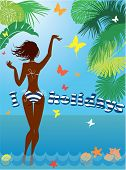 Woman Silhouette In Bikini Swimwear At Tropical Beach With Palm Tree Leaves And Butterflies On Backg