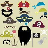 stock photo of pirate flag  - Set of Pirates Elements  - JPG