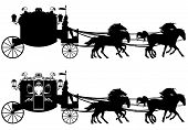 picture of carriage horse  - antique carriage with four running horses  - JPG