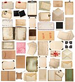 stock photo of clipboard  - aged paper sheets books pages and old postcards isolated on white background - JPG