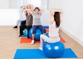 picture of senior class  - Rear view of female trainer training senior customers stretching on fitness balls in exercise class - JPG