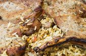 stock photo of brisket  - Pork brisket baked with rice and vegetables - JPG