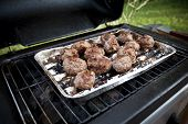 picture of meatballs  - The Detail of Special Meatballs on grill - JPG