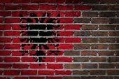 stock photo of albania  - Dark brick wall texture  - JPG