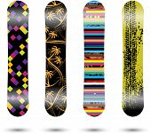 picture of four-wheel  - Set of four different snowboards isolated on white - JPG