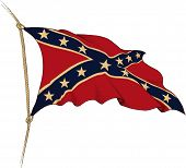 stock photo of confederate flag  - Old flag of Confederate painted as engraving winds in the wind - JPG