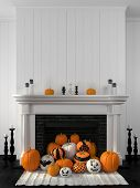 image of floor heating  - Beautiful white fireplace in the classic style against a white wall and decorated with painted pumpkins - JPG