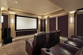 image of home theater  - Theater room in luxury home with lounge chairs - JPG