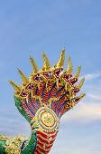 stock photo of serpent  - The serpent king Python has a horned animal in the Thai novel - JPG