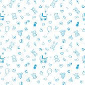 foto of pregnancy  - Vector seamless baby and pregnancy blue pattern - JPG