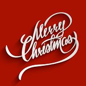 image of christmas greetings  - Merry Christmas Hand lettering Greeting Card - JPG