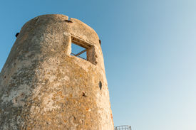 stock photo of saracen  - saracenic tower in Arbatax 15th century Sardinia Italy - JPG