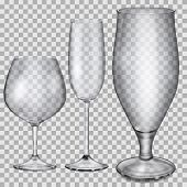 foto of champagne glass  - Three transparent empty glass goblets for cognac champagne and beer - JPG