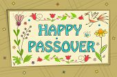pic of passover  - Floral banner with happy Passover text in the center and a decorative background - JPG