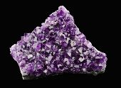 pic of quartz  - Amethyst on black background, a violet variety of quartz, often used in jewelry. Silica, silicon dioxide, SiO2. ** Note: Visible grain at 100%, best at smaller sizes - JPG