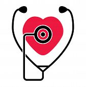 foto of diagnostic medical tool  - vector symbol of medical check of heart health and heartbeat with stethoscope - JPG