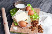 image of baked raisin cookies  - Ingredients for baking Easter cake - JPG