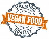 stock photo of vegan  - vegan food vintage orange seal isolated on white - JPG