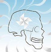 pic of spinner  - the outline of the skull with wind of spinner a blue sky background - JPG