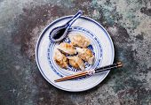 stock photo of kimchi  - Special Kimchi Fried Dumplings Dumpling and sauce - JPG
