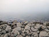 stock photo of dam  - Rocky Dam on River Background - JPG