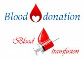stock photo of blood  - Blood donation and blood transfusion symbols design decorated with a drop of blood containing a heart and a syringe full of blood for medical and healthcare - JPG