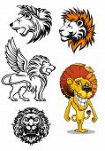 Постер, плакат: Cartoon and heraldic lion characters
