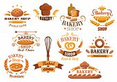 stock photo of pretzels  - Large set of bakery labels or badges decorated with wheat - JPG