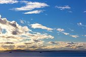 pic of mountain chain  - Waters of Puget Sound and mountains chain on a horizon - JPG