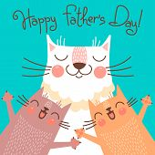 picture of baby cat  - Sweet card for Fathers Day with cats - JPG